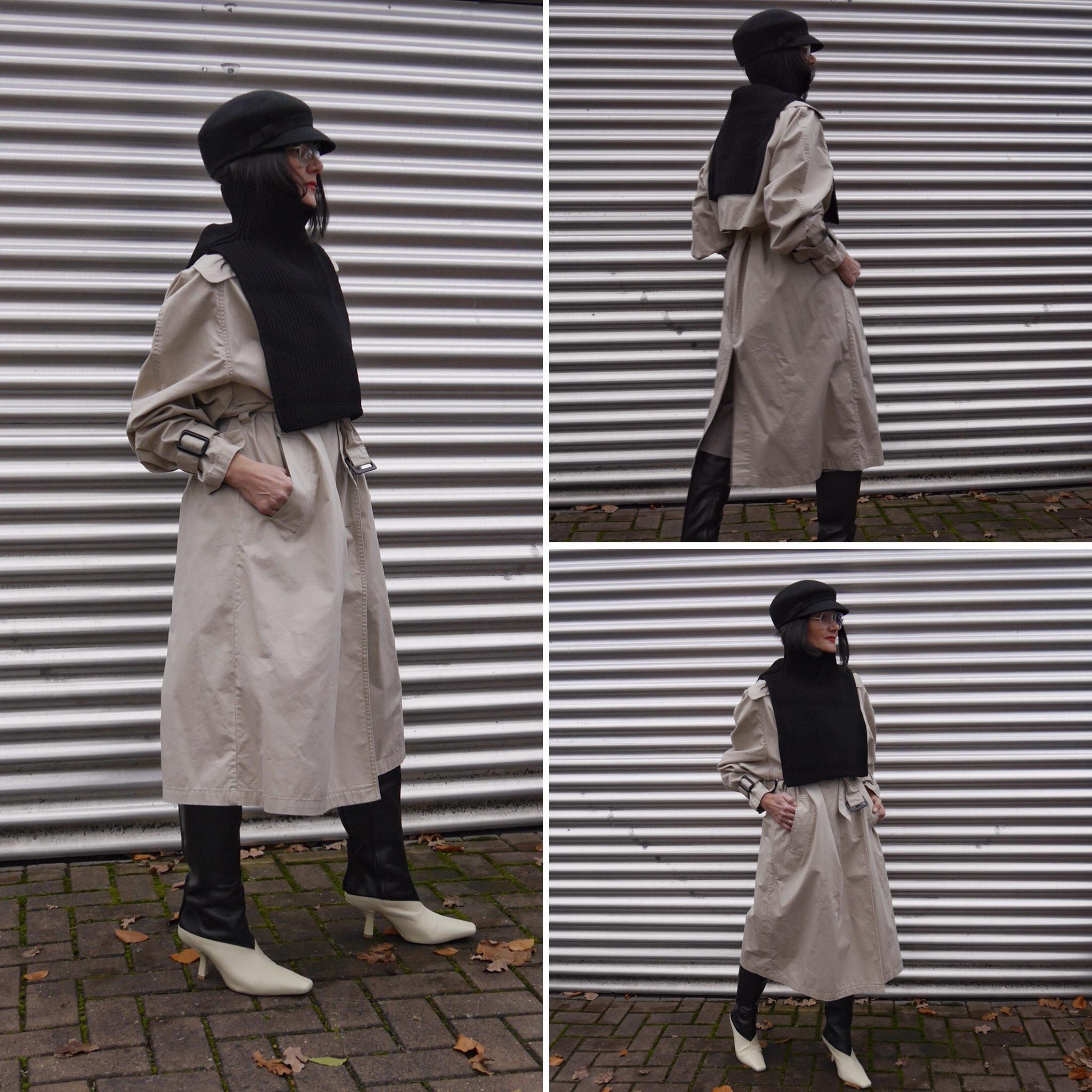 schwarzer Pullunder, Hut, H&M-Studio Collection Stiefel