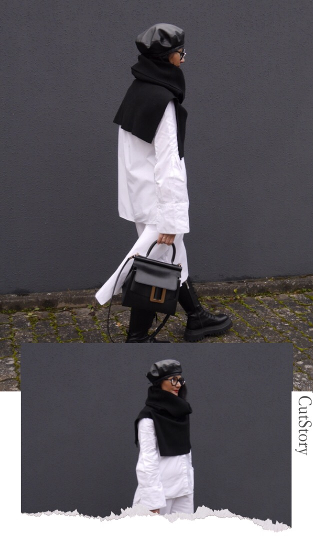 Schwarz-weiß-Look, Pullunder-Rolli über Oversize-Hemd, Zara-Boots, Boyy-Bag, Lederkappe