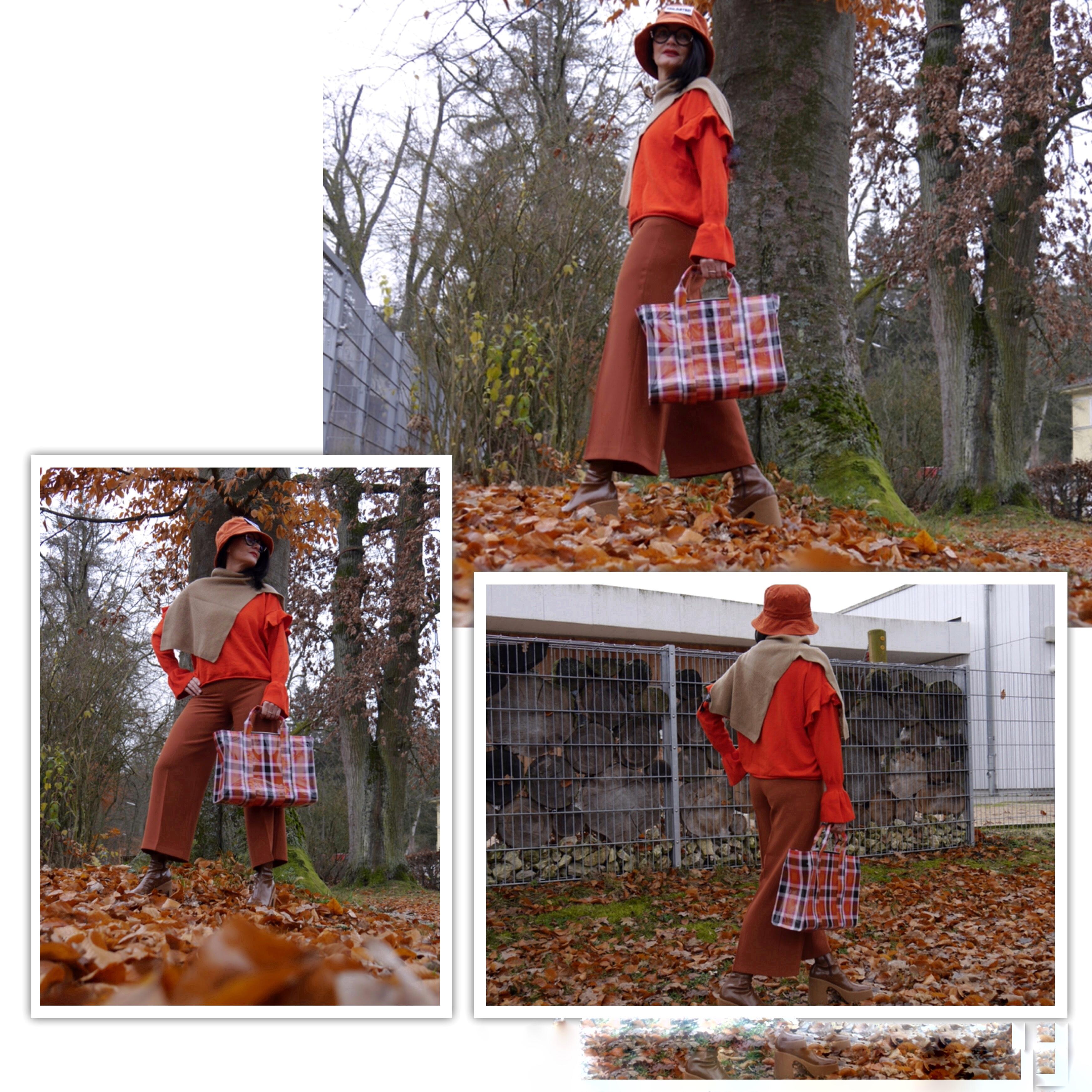 Fischer Hut in Cord, Herbstfarben, Rostorange, Stella McCartney-Boots