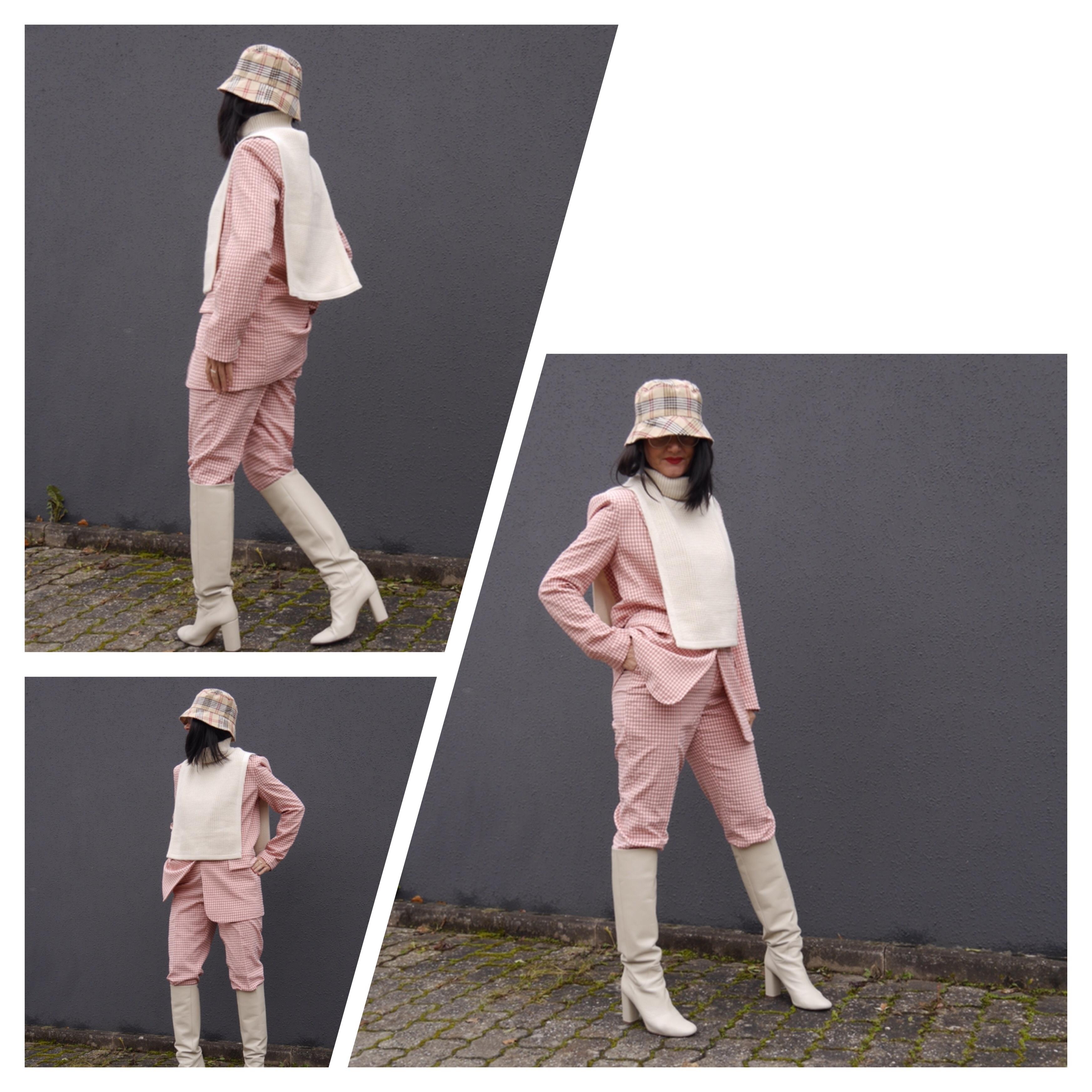 Pullunder über Anzug, Pepita-Anzug, Burberry Hut